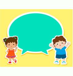 Happy kids with empty speech bubble cartoon vector