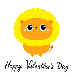happy valentines day lion toy icon cute cartoon vector image