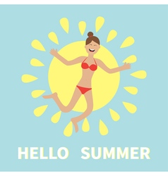 hello summer woman wearing swimsuit jumping sun vector image