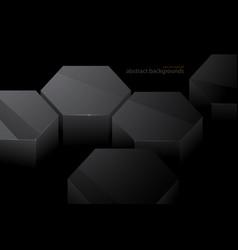 Hexagonal metal shape scene in dark vector