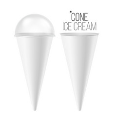 ice cream cone mock up 3d realistic blank vector image