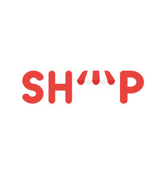 Icon concept of shop word with awning vector