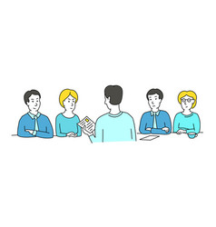 Interview sketch talking with a job applicant vector