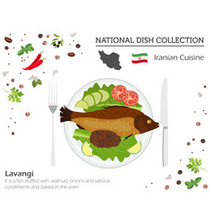 iranian cuisine middle east national dish vector image