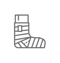 Leg fracture plaster elastic bandage line icon vector