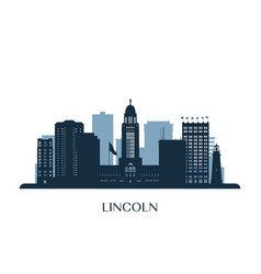 lincoln skyline monochrome silhouette vector image