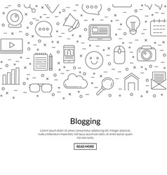 line blog icons background with place vector image
