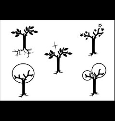 Magical trees -black on white vector