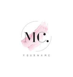 Mc watercolor letter logo design with circular vector