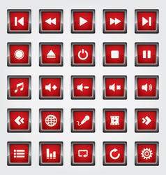 Media Button red vector image