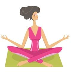 Meditation pretty girl vector image
