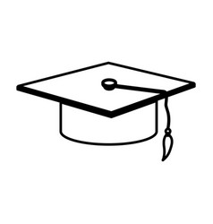 Monochrome contour with graduation hat vector
