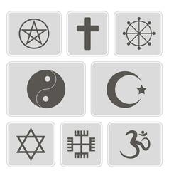 Monochrome icons with religious symbols vector