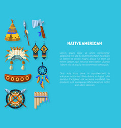 native american banner template with ethnic indian vector image