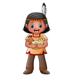 Native american indian boy with hen vector
