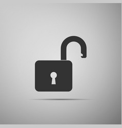 open padlock icon isolated on grey background vector image