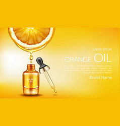 orange oil cosmetics bottle with pipette ad banner vector image