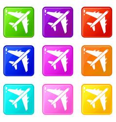 Passenger airliner set 9 vector