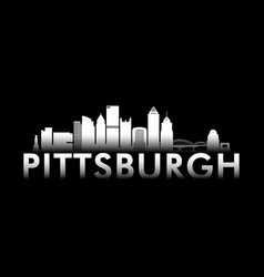 pittsburgh city white skyline on black background vector image