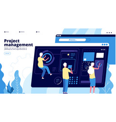 project management landing tiny guys manage vector image