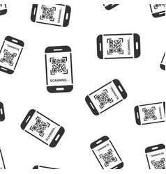 qr code scan phone icon seamless pattern vector image