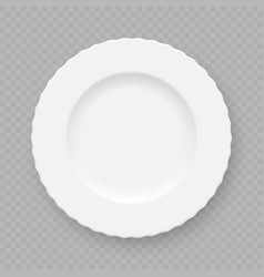 Realistic white plate dish vector