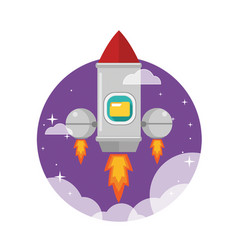 rocket ship launched to the space vector image