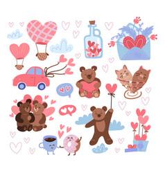 saint valentine day sticker set feast st vector image