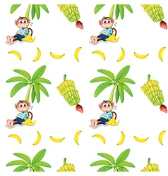 Seamless design with monkeys and bananas vector