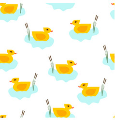 Seamless duck in blue water pattern vector