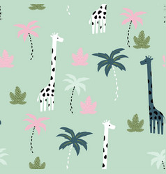 Seamless pattern giraffe vector