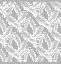 seamless pattern white feathers on gray vector image