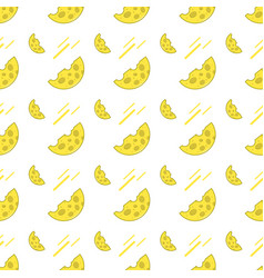Seamless pattern with cheese on a white background vector