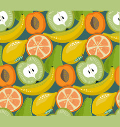 seamless pattern with different fruits in vector image