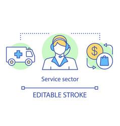 Service sector concept icon tertiary idea thin vector