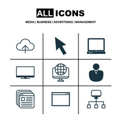 set of 9 internet icons includes account local vector image