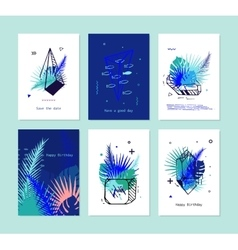 Set of Card with Tropical Elements and Crystals vector image
