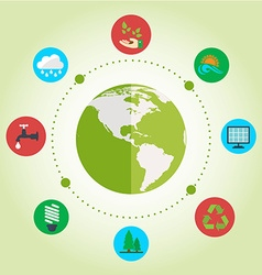Set of flat design concept with icons of ecology vector image