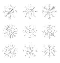 Set of monochrome icons with snowflakes vector