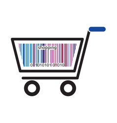 shopping cart with barcode vector image