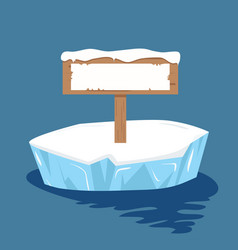 Sign post ready for your text on ice floe vector