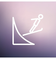 Skier jump in the air thn line icon vector