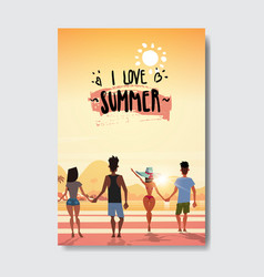 Summer love people holding hands looking sunset vector