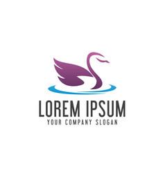 swan logo animal pet logo design concept template vector image
