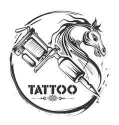 tattoo art design horse line art style vector image