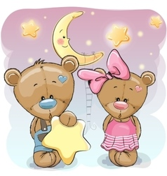 Teddy Bear Girl and Boy with a star vector