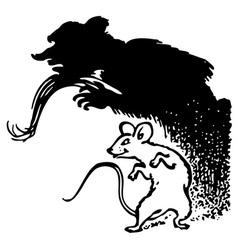 Terrible mouse shadow vector