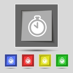 The stopwatch icon sign on original five colored vector image