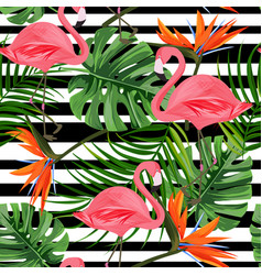 Tropical seamless pattern with flamingo monstera vector