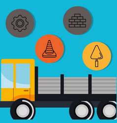 truck with under construction equipment vector image